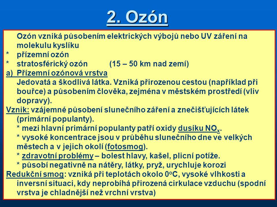 2. Ozón Ozón vzniká působením elektrických výbojů nebo UV záření na molekulu kyslíku *přízemní ozón *stratosférický ozón(15 – 50 km nad zemí) a)Přízem