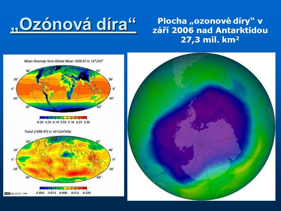 """""""Ozónová díra"""" Plocha """"ozonové díry"""" v září 2006 nad Antarktidou 27,3 mil. km 2"""