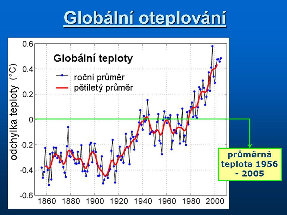 Globální oteplování průměrná teplota 1956 - 2005