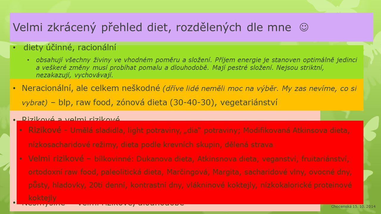 Velmi zkrácený přehled diet, rozdělených dle mne diety účinné, racionální obsahují všechny živiny ve vhodném poměru a složení.