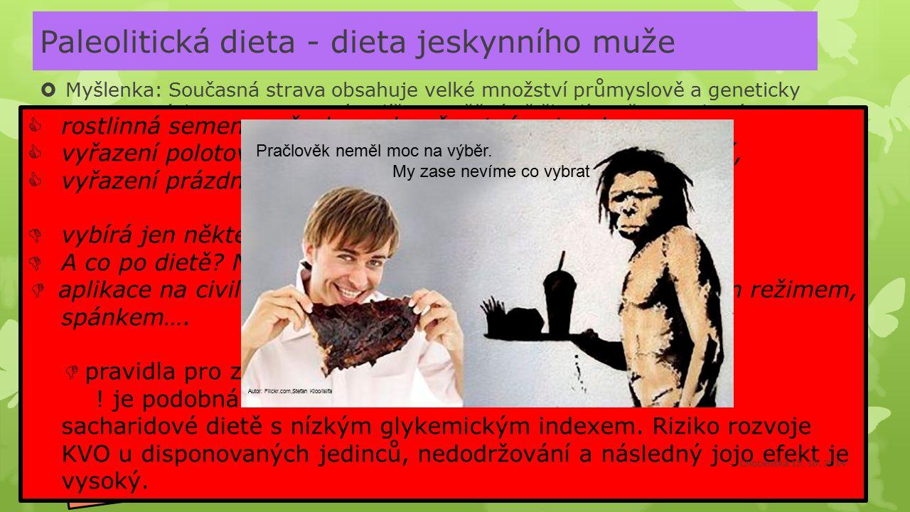 Paleolitická dieta - dieta jeskynního muže  Myšlenka: Současná strava obsahuje velké množství průmyslově a geneticky zpracovaných potravin = není tud