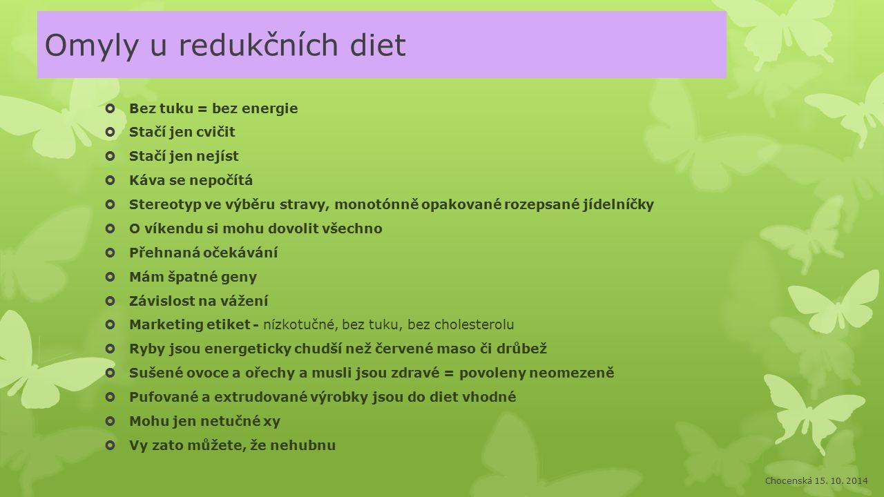 Omyly u redukčních diet  Bez tuku = bez energie  Stačí jen cvičit  Stačí jen nejíst  Káva se nepočítá  Stereotyp ve výběru stravy, monotónně opak