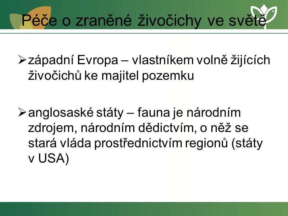 Péče o zraněné živočichy ve světě  západní Evropa – vlastníkem volně žijících živočichů ke majitel pozemku  anglosaské státy – fauna je národním zdrojem, národním dědictvím, o něž se stará vláda prostřednictvím regionů (státy v USA)
