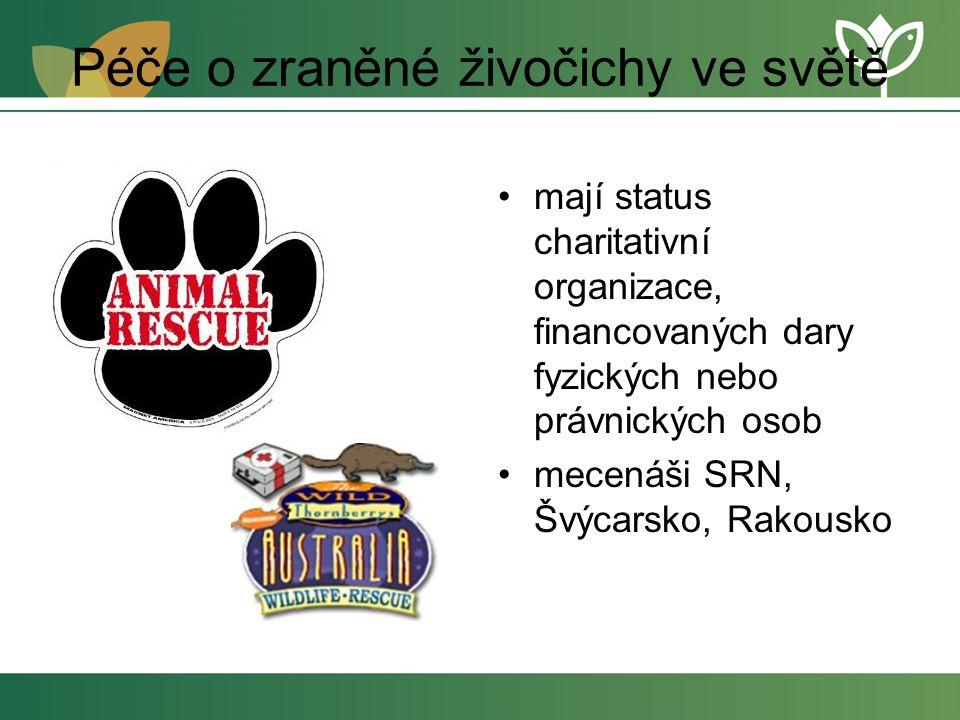 Péče o zraněné živočichy ve světě mají status charitativní organizace, financovaných dary fyzických nebo právnických osob mecenáši SRN, Švýcarsko, Rakousko