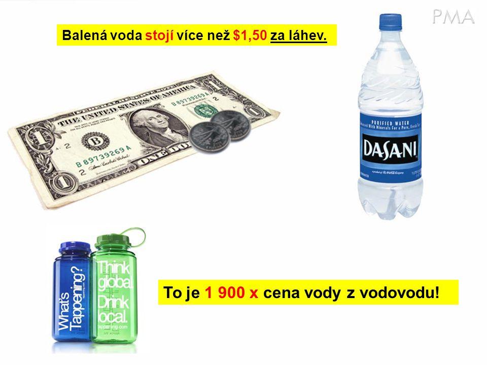 Balená voda stojí více než $1,50 za láhev. To je 1 900 x cena vody z vodovodu!