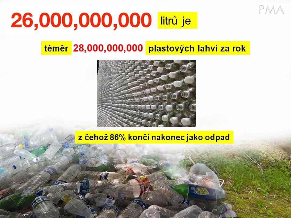 litrů je téměrplastových lahví za rok z čehož 86% končí nakonec jako odpad