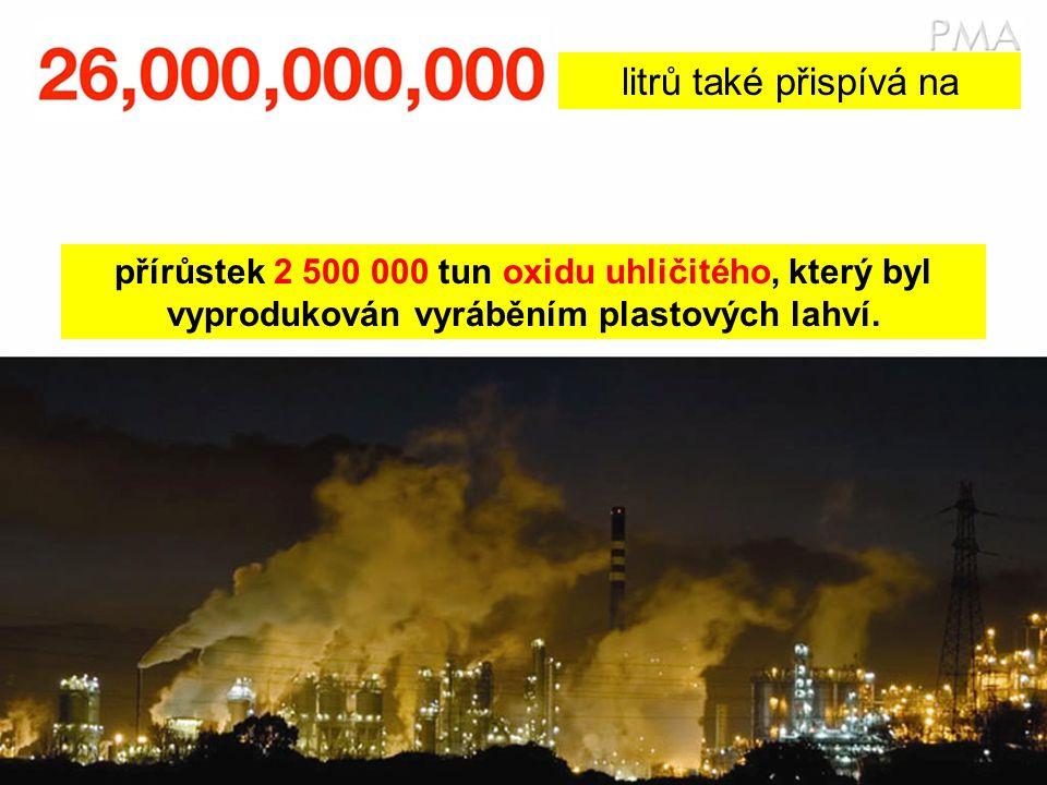 litrů také přispívá na přírůstek 2 500 000 tun oxidu uhličitého, který byl vyprodukován vyráběním plastových lahví.