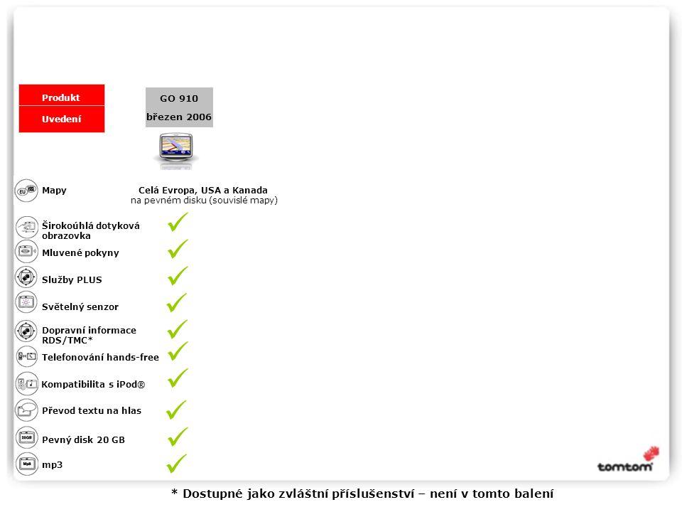 březen 2006 GO 910 Produkt Uvedení Přehled funkcí řady TomTom GO Celá Evropa, USA a Kanada na pevném disku (souvislé mapy) Mapy Širokoúhlá dotyková obrazovka Mluvené pokyny Telefonování hands-free Kompatibilita s iPod® mp3 Převod textu na hlas Pevný disk 20 GB Služby PLUS Světelný senzor Dopravní informace RDS/TMC* * Dostupné jako zvláštní příslušenství – není v tomto balení