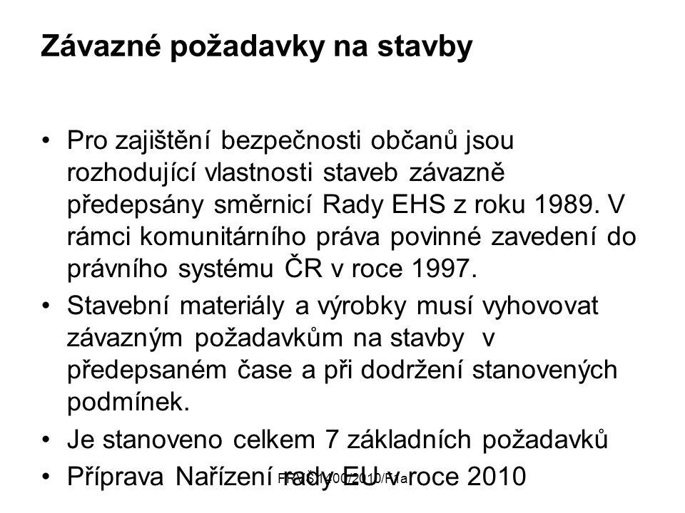 FRVŠ 1400/2010/F1a Závazné požadavky na stavby Pro zajištění bezpečnosti občanů jsou rozhodující vlastnosti staveb závazně předepsány směrnicí Rady EHS z roku 1989.