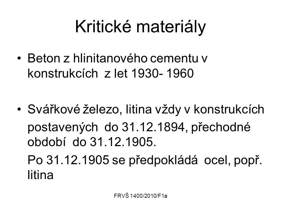 FRVŠ 1400/2010/F1a Kritické materiály Beton z hlinitanového cementu v konstrukcích z let 1930- 1960 Svářkové železo, litina vždy v konstrukcích postavených do 31.12.1894, přechodné období do 31.12.1905.