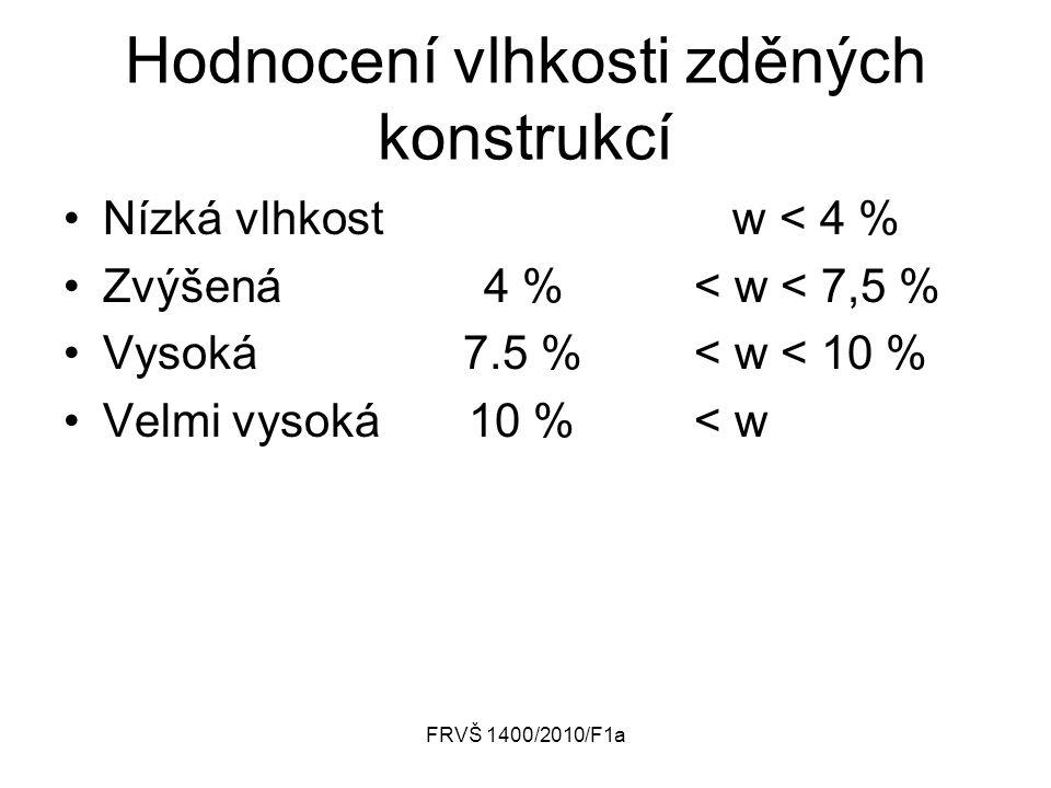 FRVŠ 1400/2010/F1a Hodnocení vlhkosti zděných konstrukcí Nízká vlhkost w < 4 % Zvýšená4 % < w < 7,5 % Vysoká 7.5 % < w < 10 % Velmi vysoká 10 % < w