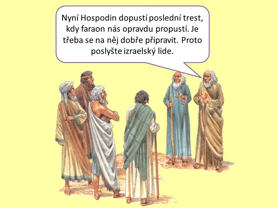 Nyní Hospodin dopustí poslední trest, kdy faraon nás opravdu propustí.