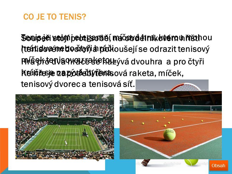 Tenis je velmi elegantní míčová hra, kterou mohou hrát dva nebo čtyři hráči. Hra pro dva hráče se nazývá dvouhra a pro čtyři hráče se nazývá čtyřhra.
