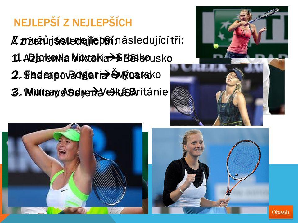 Z mužů jsou nejlepší následující tři: 1. Djokovic Novak  Srbsko 2. Federer Roger  Švýcarsko 3. Murray Andy  Velká Británie A z žen následující tři:
