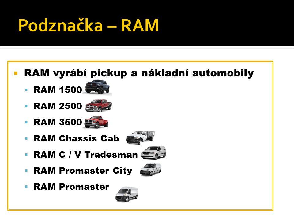  RAM vyrábí pickup a nákladní automobily  RAM 1500  RAM 2500  RAM 3500  RAM Chassis Cab  RAM C / V Tradesman  RAM Promaster City  RAM Promaster