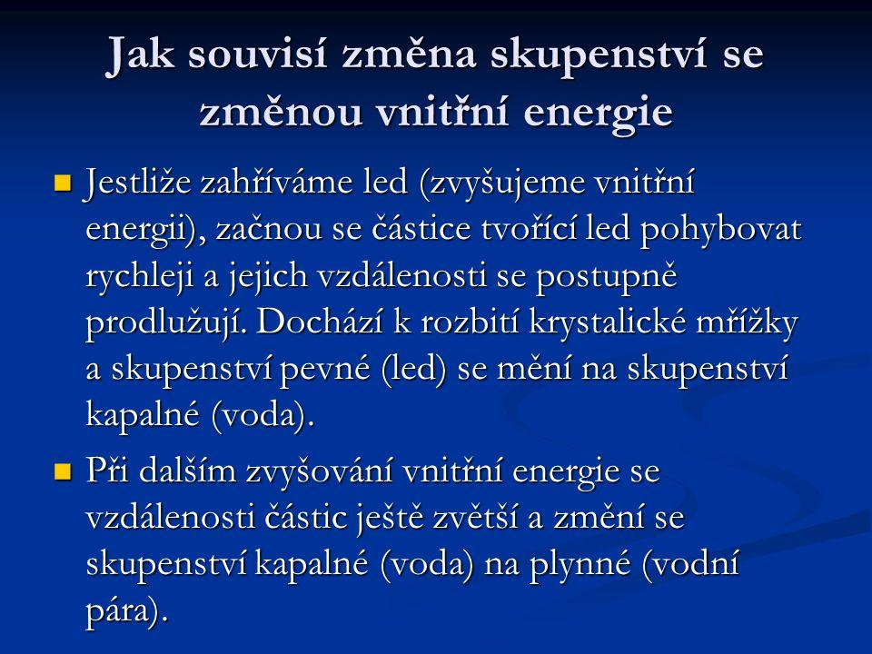 Jak souvisí změna skupenství se změnou vnitřní energie Jestliže zahříváme led (zvyšujeme vnitřní energii), začnou se částice tvořící led pohybovat rychleji a jejich vzdálenosti se postupně prodlužují.