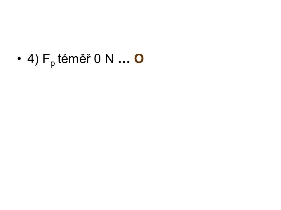 4) F p téměř 0 N … O