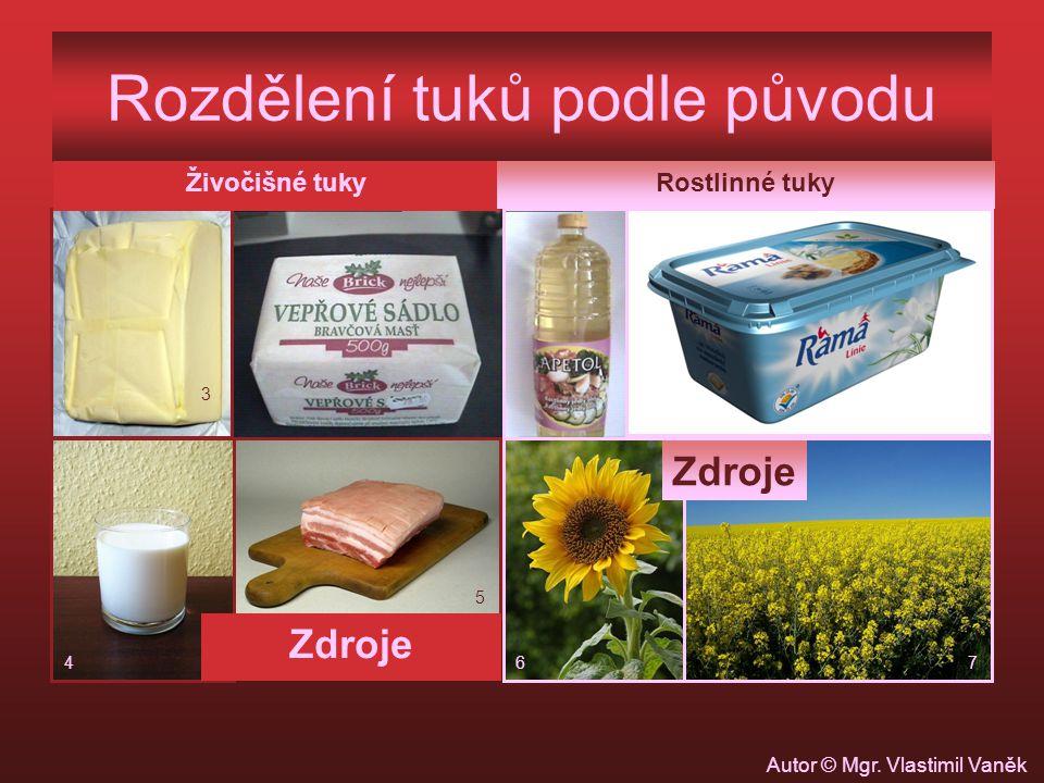 Rozdělení tuků podle původu Živočišné tukyRostlinné tuky Zdroje 3 4 5 67 Autor © Mgr. Vlastimil Vaněk
