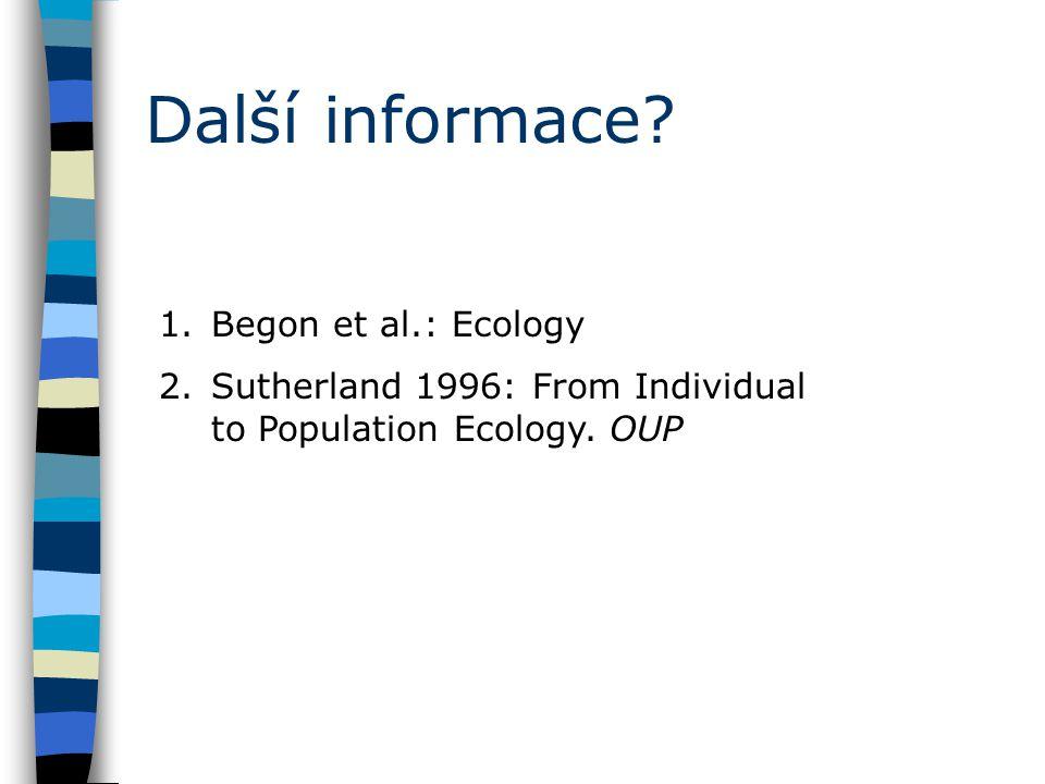 Další informace. 1.Begon et al.: Ecology 2.Sutherland 1996: From Individual to Population Ecology.