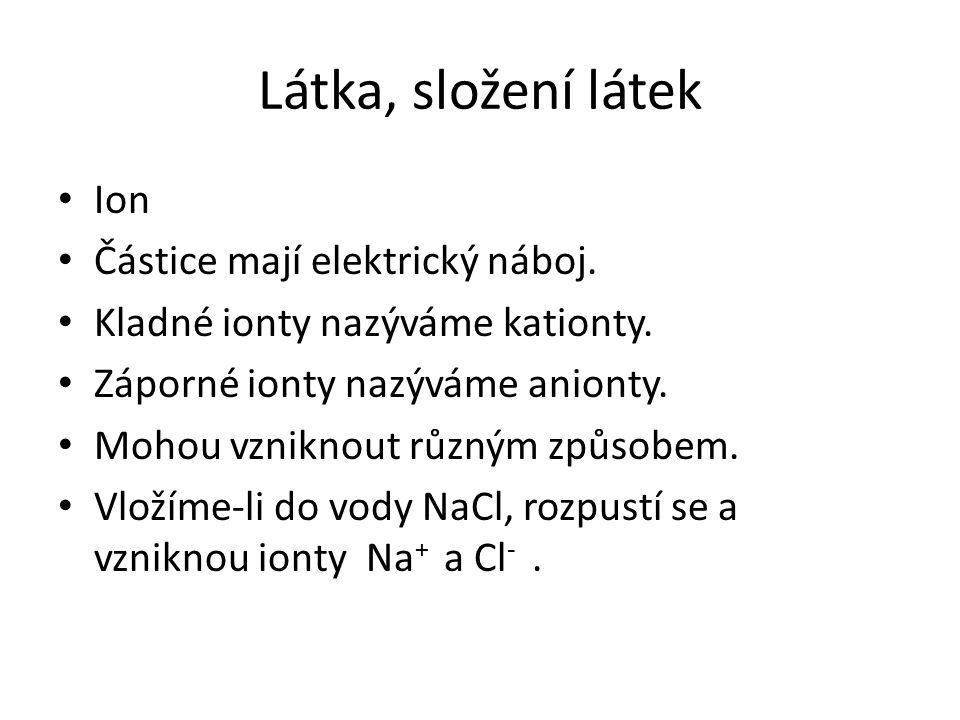 Látka, složení látek Ion Částice mají elektrický náboj.