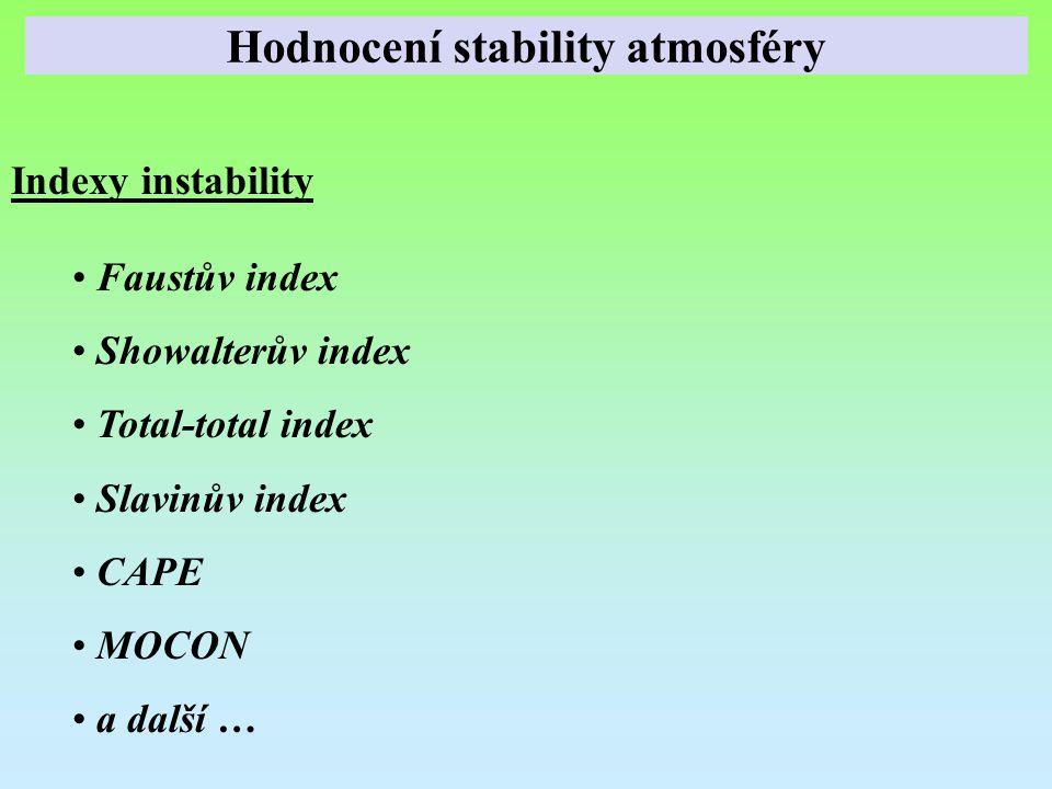 Indexy instability Faustův index Showalterův index Total-total index Slavinův index CAPE MOCON a další … Hodnocení stability atmosféry