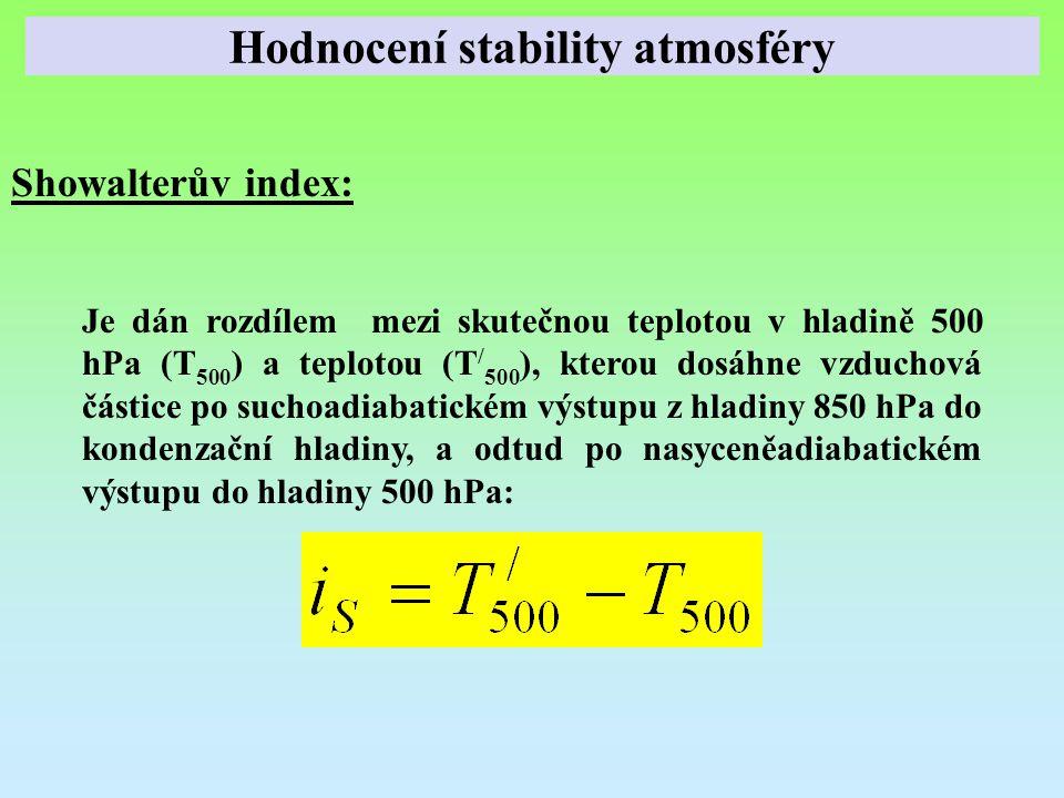 Showalterův index: Je dán rozdílem mezi skutečnou teplotou v hladině 500 hPa (T 500 ) a teplotou (T / 500 ), kterou dosáhne vzduchová částice po sucho