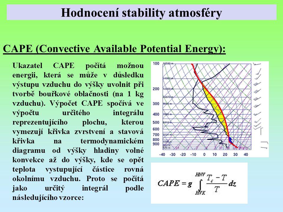 CAPE (Convective Available Potential Energy): Ukazatel CAPE počítá možnou energii, která se může v důsledku výstupu vzduchu do výšky uvolnit při tvorb