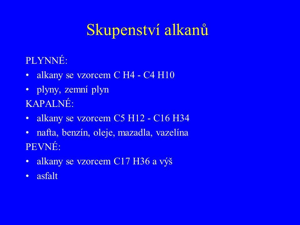 Skupenství alkanů PLYNNÉ: alkany se vzorcem C H4 - C4 H10 plyny, zemní plyn KAPALNÉ: alkany se vzorcem C5 H12 - C16 H34 nafta, benzín, oleje, mazadla,