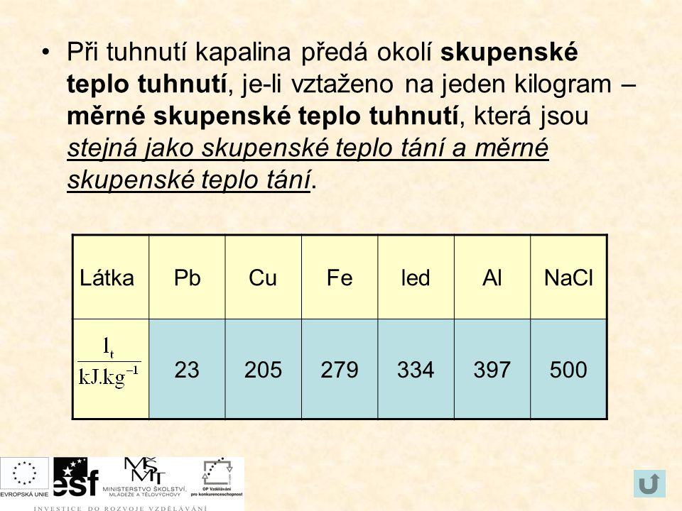 Při tuhnutí kapalina předá okolí skupenské teplo tuhnutí, je-li vztaženo na jeden kilogram – měrné skupenské teplo tuhnutí, která jsou stejná jako sku