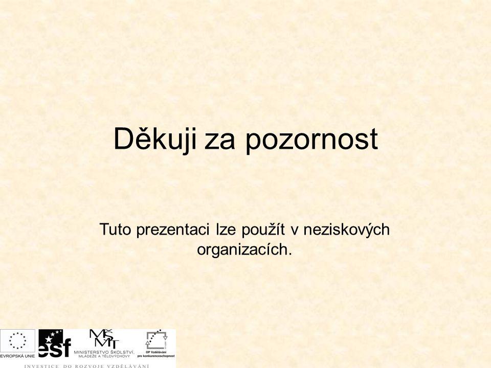 Děkuji za pozornost Tuto prezentaci lze použít v neziskových organizacích.