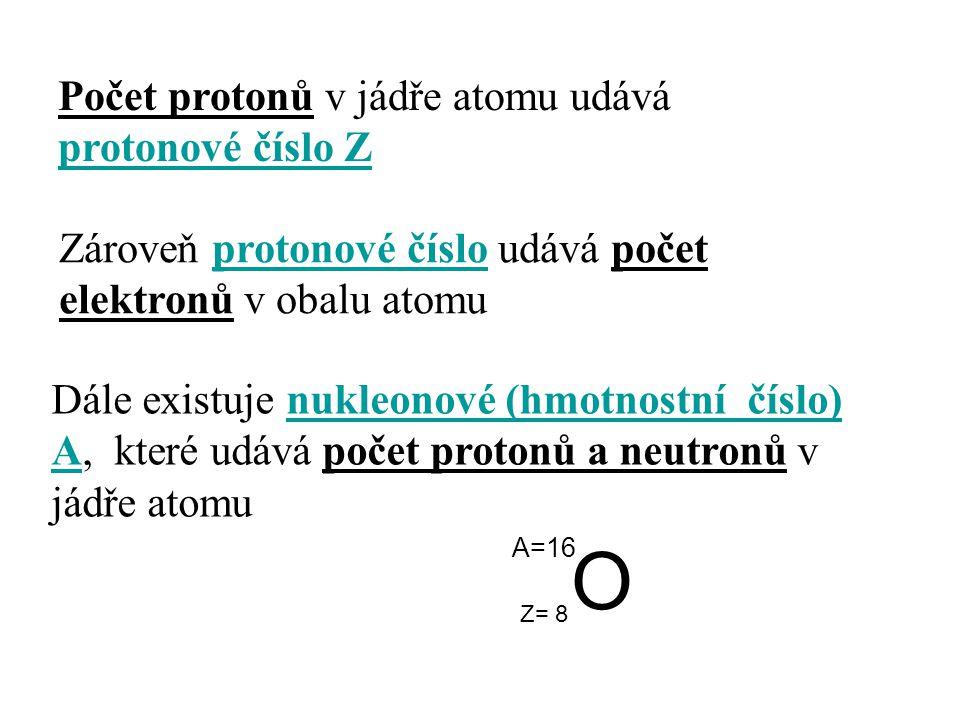 Počet protonů v jádře atomu udává protonové číslo Z Zároveň protonové číslo udává počet elektronů v obalu atomu Dále existuje nukleonové (hmotnostní č
