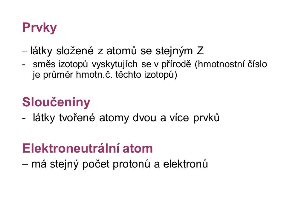 Prvky – látky složené z atomů se stejným Z -směs izotopů vyskytujích se v přírodě (hmotnostní číslo je průměr hmotn.č. těchto izotopů) Sloučeniny -lát