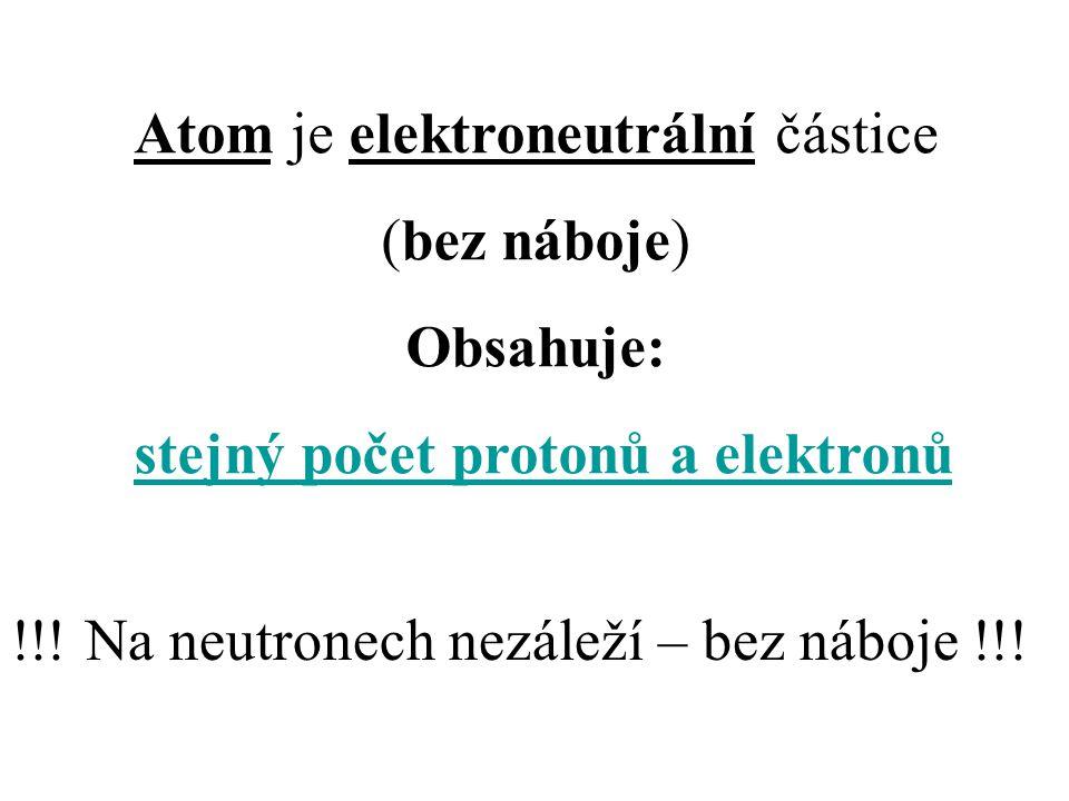 Atom je elektroneutrální částice (bez náboje) Obsahuje: stejný počet protonů a elektronů !!! Na neutronech nezáleží – bez náboje !!!
