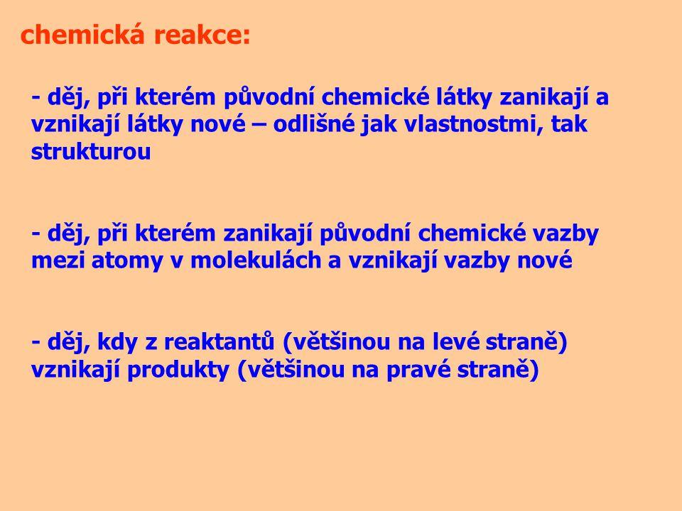 je jich veliké množství, řada z nich není ještě popsána, je nezbytné je klasifikovat (třídit) do několika skupin podle mnoha kritérií: - podle vnějších změn - podle typu přenášených částic - podle skupenského stavu reaktantů - podle celkové tepelné bilance (tepelného zabarvení) - … chemické reakce: