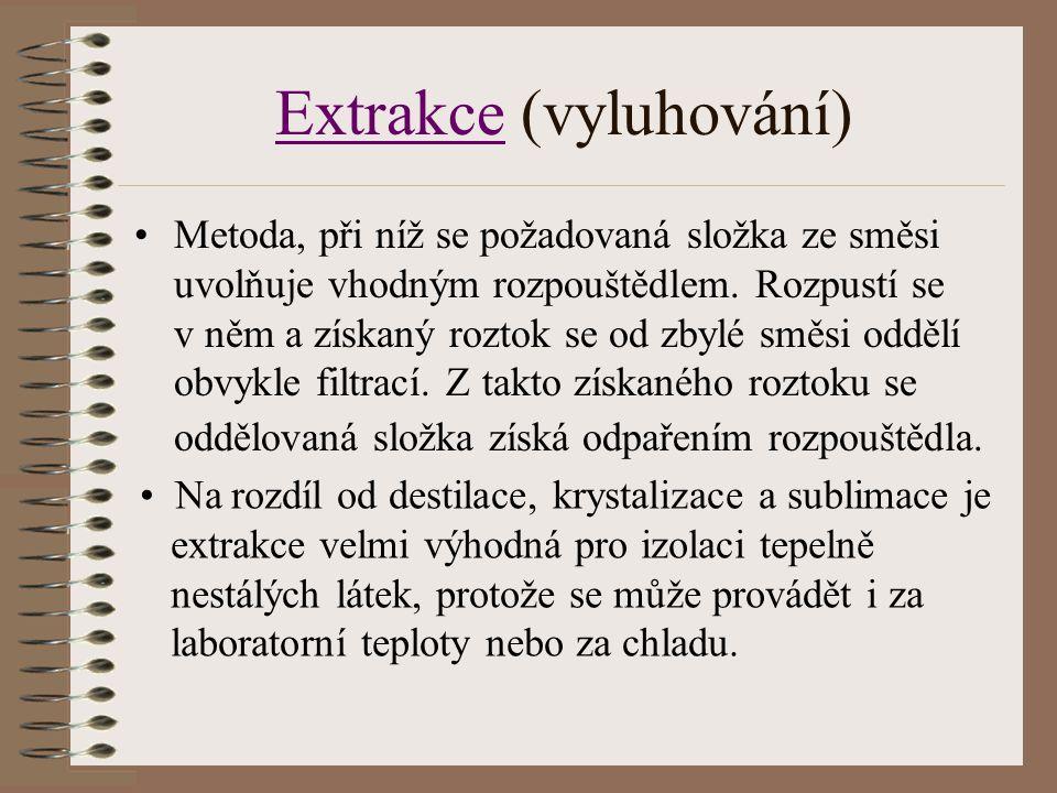 ExtrakceExtrakce (vyluhování) Metoda, při níž se požadovaná složka ze směsi uvolňuje vhodným rozpouštědlem. Rozpustí se v něm a získaný roztok se od z