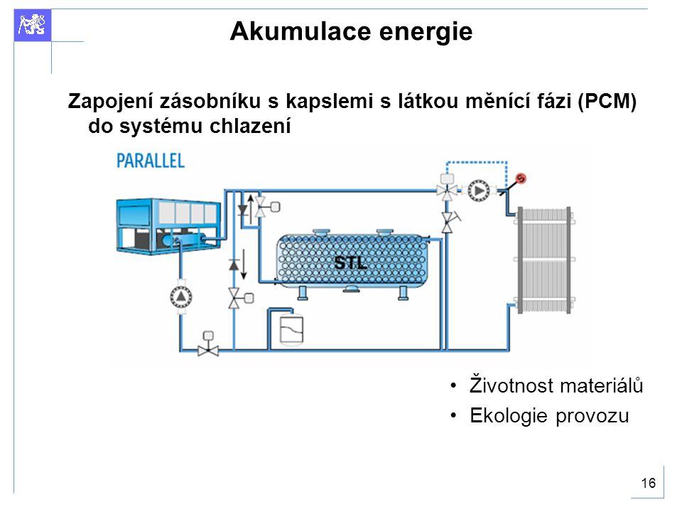 16 Akumulace energie Zapojení zásobníku s kapslemi s látkou měnící fázi (PCM) do systému chlazení Životnost materiálů Ekologie provozu