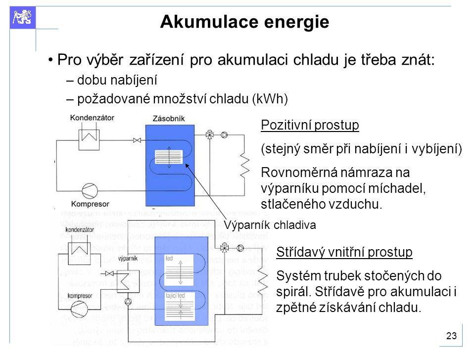 23 Akumulace energie Pro výběr zařízení pro akumulaci chladu je třeba znát: – dobu nabíjení – požadované množství chladu (kWh) Pozitivní prostup (stejný směr při nabíjení i vybíjení) Rovnoměrná námraza na výparníku pomocí míchadel, stlačeného vzduchu.