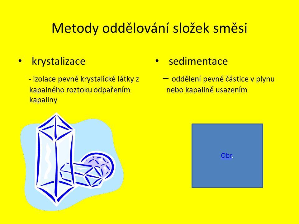 Metody oddělování složek směsi krystalizace - izolace pevné krystalické látky z kapalného roztoku odpařením kapaliny sedimentace – oddělení pevné částice v plynu nebo kapalině usazením ObrObr.