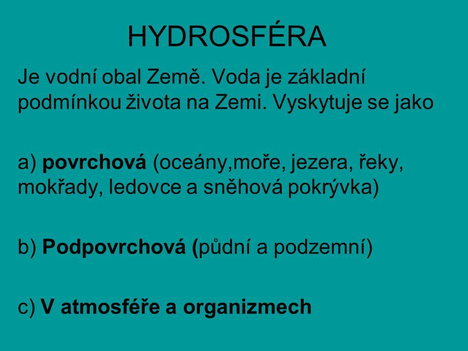 HYDROSFÉRA Je vodní obal Země.Voda je základní podmínkou života na Zemi.