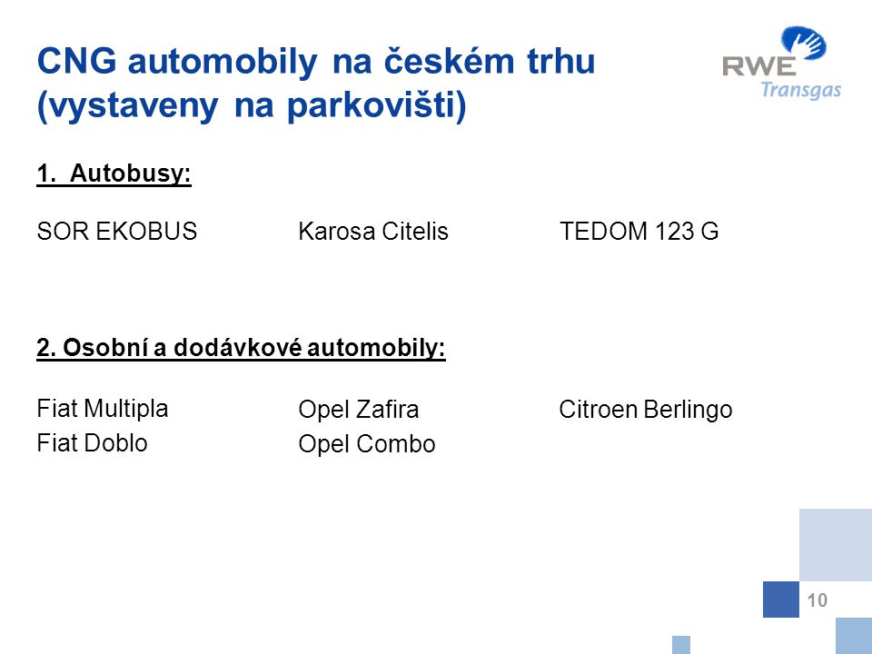 10 CNG automobily na českém trhu (vystaveny na parkovišti) 1. Autobusy: SOR EKOBUSKarosa CitelisTEDOM 123 G 2. Osobní a dodávkové automobily: Fiat Mul
