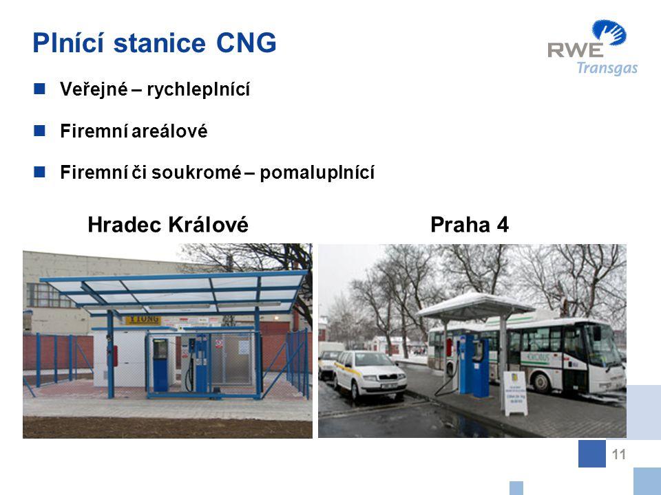 11 Plnící stanice CNG Veřejné – rychleplnící Firemní areálové Firemní či soukromé – pomaluplnící Hradec Králové Praha 4
