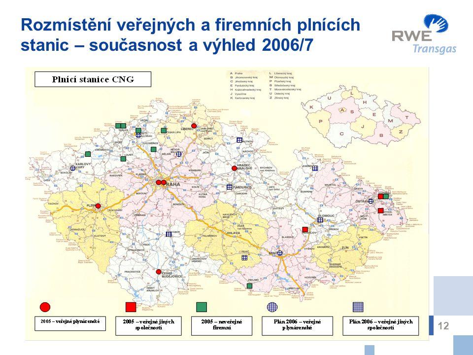 12 Rozmístění veřejných a firemních plnících stanic – současnost a výhled 2006/7