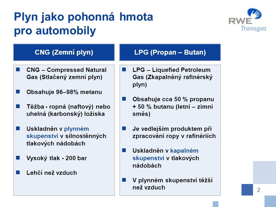 2 Plyn jako pohonná hmota pro automobily CNG – Compressed Natural Gas (Stlačený zemní plyn) Obsahuje 96–98% metanu Těžba - ropná (naftový) nebo uhelná