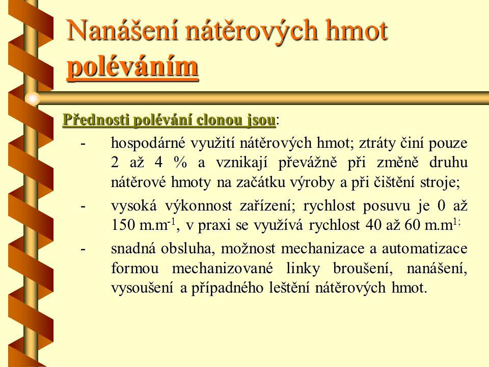 Nanášení nátěrových hmot poléváním Polévací otevíratelné hlavy : a) 1 – přívodní potrubí, 2 – víko, 3 – vodoznak, 4 – tělo polévací hlavy, 5 – lak (ná