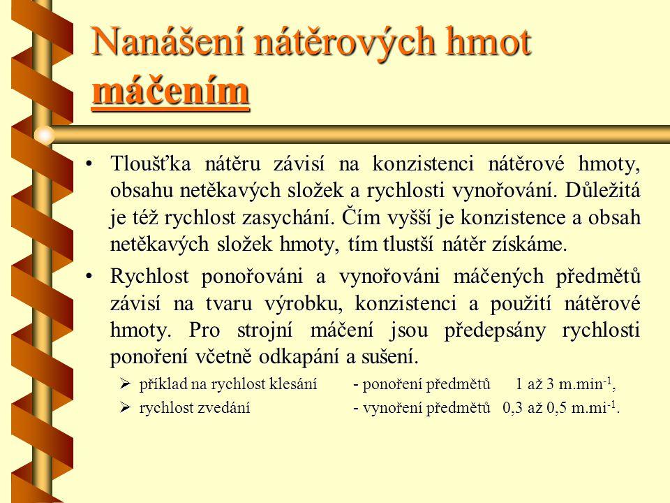 Nanášení nátěrových hmot máčením Tento způsob je vhodný pro povrchovou úpravu drobných výrobků, dílců a součástí, např. úchytek, stolových noh, lišt,
