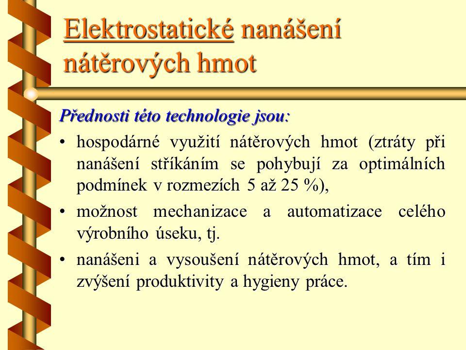 Elektrostatické nanášení nátěrových hmot Elektrostatické nanášení je založeno na fyzikálním jevu, který spočívá ve vzájemném přitahování nesouhlasných
