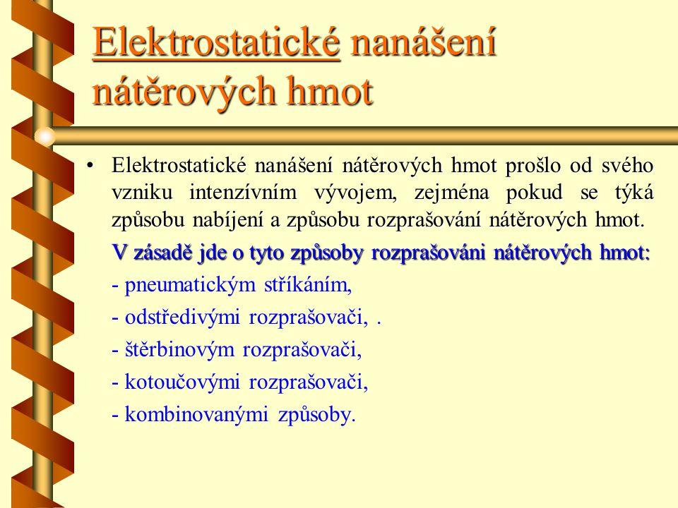 Elektrostatické nanášení nátěrových hmot Přednosti této technologie jsou: hospodárné využití nátěrových hmot (ztráty při nanášení stříkáním se pohybuj