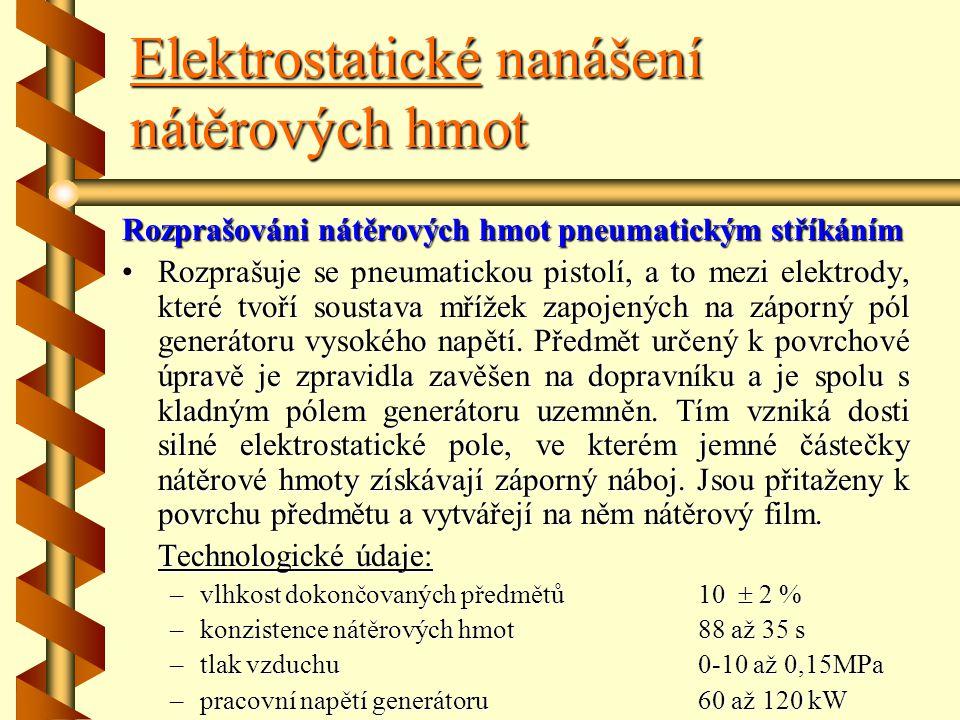 Elektrostatické nanášení nátěrových hmot Elektrostatické nanášení nátěrových hmot prošlo od svého vzniku intenzívním vývojem, zejména pokud se týká zp