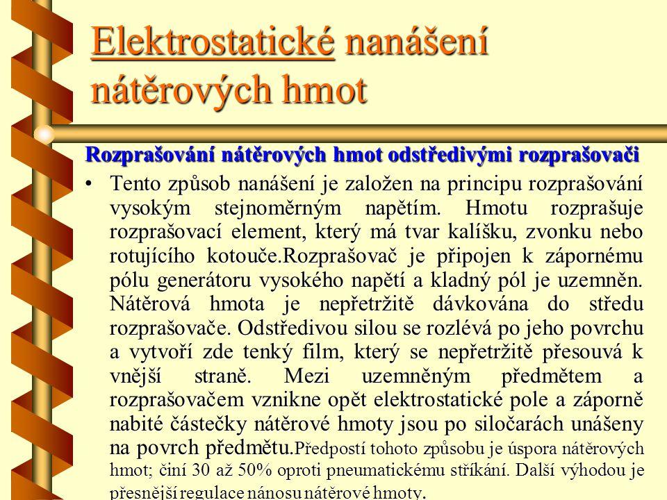 Elektrostatické nanášení nátěrových hmot Rozprašováni nátěrových hmot pneumatickým stříkáním Rozprašuje se pneumatickou pistolí, a to mezi elektrody,