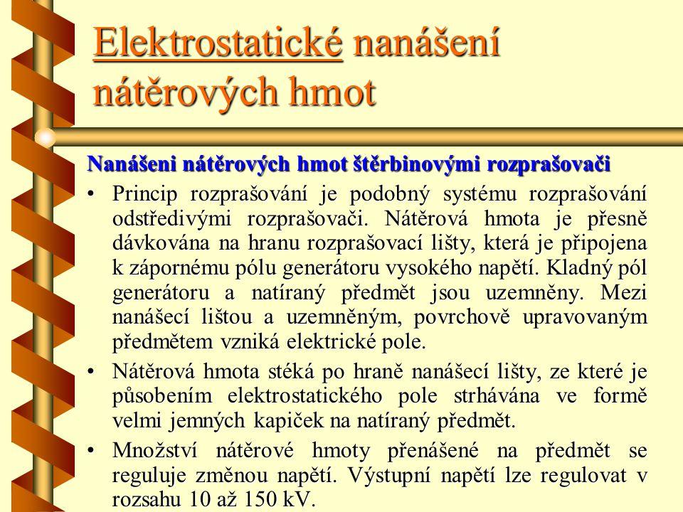 Elektrostatické nanášení nátěrových hmot Rozprašování nátěrových hmot odstředivými rozprašovači Tento způsob nanášení je založen na principu rozprašov